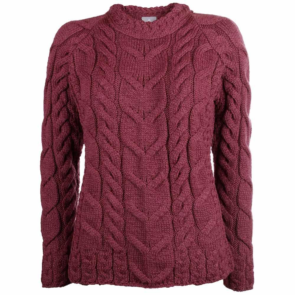 Trui Merinowol Dames.Magentakleurige Aran Sweater Van Wol