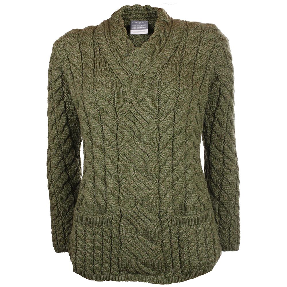Ierse Trui.Mosgroene Dames Aran Sweater Van Merinowol